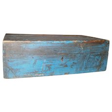 AAFA Primitive Hinged Wood Document Box in Blue Paint
