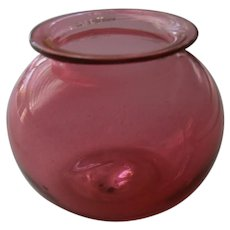 Early Blown Glass Cranberry Red Apothecary Leech Jar with Pontil