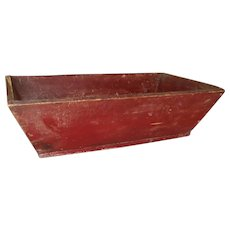 AAFA Primitive Wood Dough Box in Red Paint with Canted Sides