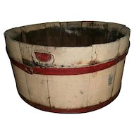 AAFA Primitive Wood Bucket Pail with Handles in Red and Cream Paint