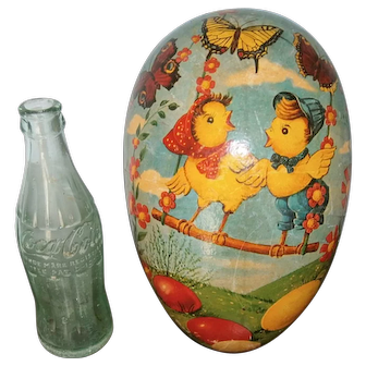 HUGE Western Germany Easter Egg Candy Container Chicks & Butterflies Cardboard