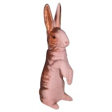 German Composition Pink & Gold Easter Bunny Candy Container