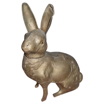 Gold German Easter Bunny Rabbit Cardboard Candy Container