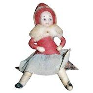 Christmas Heubach Child Googly Eye Girl Doll on Log