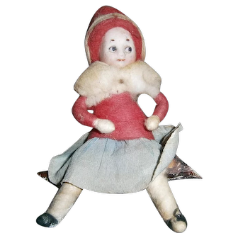 Christmas Heubach Child Googly Eye Girl Doll on Log