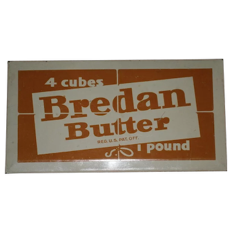 Bredan Butter Advertising Tin Over Cardboard Hanging Sign