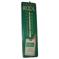 Metal KOOL CIGARETTES Vintage Advertising Thermometer Sign