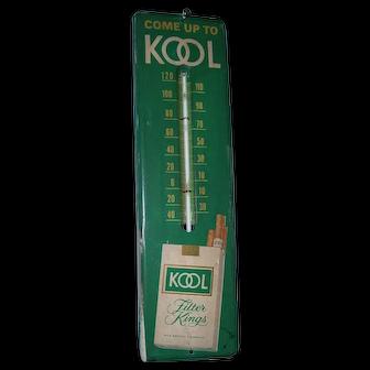 Metal KOOL CIGARETTES Vintage Advertising Thermometer Sign