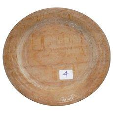 Early Wooden AAFA Primitive Treen Plate