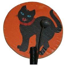 Vintage Czech Halloween Dual Noisemaker Clanger with Wood Handle: Pumpkin and Cat