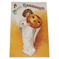 Vintage Halloween Mechanical Clapsaddle Postcard Ghost Child with Pumpkin JOL