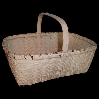 AAFA Primitive Rectangular Wood Gathering Basket in White Paint