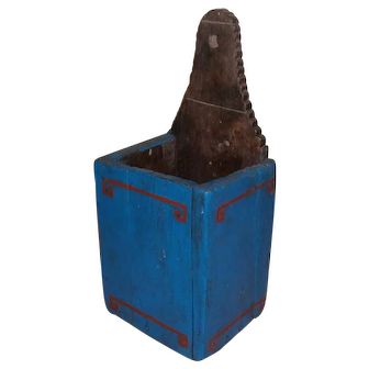 Primitive Wooden Blue and Red Candle Wall Box