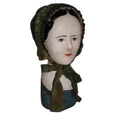 Early Victorian French Millinery Head with Green Silk Bonnet