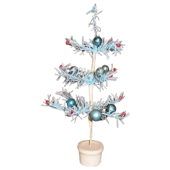 Japan Blue Christmas Tree with Ornaments and White Base