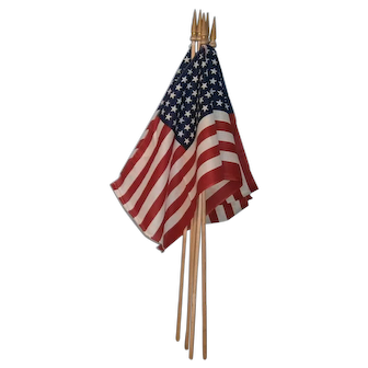 Lot of 5 Patriotic American 48 Star Parade Flags with Wood Pole and Finial