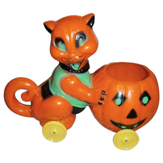 Rosbro Plastic Halloween Cat with JOL Candy Container on Wheels