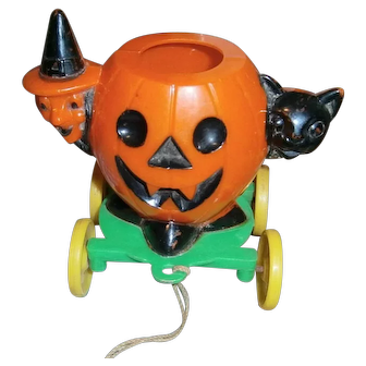 Rosbro Plastic Halloween Cat Witch and Pumpkin JOL Candy Container on Wheels
