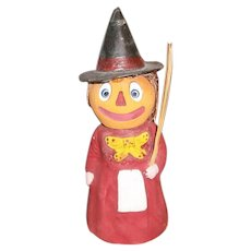 German Halloween JOL Witch Head Composition Candy Container LARGE SIZE