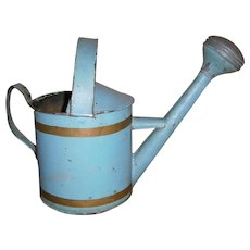 Child's Tin Watering Can Sprinkler in Robin Egg Blue Paint