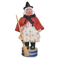 German Halloween Composition Witch Candy Container with Broom