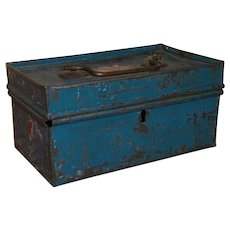 AAFA Primitive Small Tin Early Document Box in Blue Paint