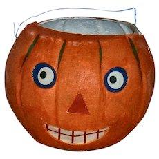 Vintage Halloween JOL Orange Cardboard Lantern with Paper Face Insert JAPAN