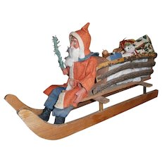 German Christmas Large Woodcutter Santa in Sleigh or Sled with Wooden Toys