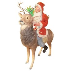 Large German Santa and Reindeer Candy Container