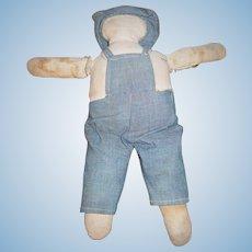 AAFA Child's Cloth Boy Doll in Blue Textile Homespun