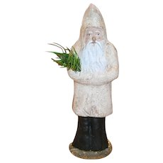"German Composition Santa Belsnickle with White Coat and Feather Tree 6"" Candy Container"