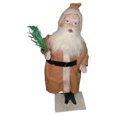 Early Composition Bobbing Nodding Santa Claus with Feather Tree