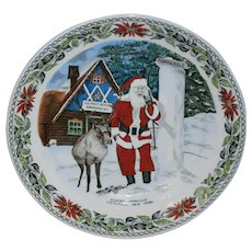 Old English Staffordshire Christmas Plate with Santa and Reindeer at Santa's Workshop North Pole, New York