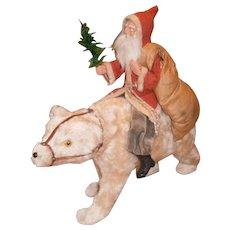 German Christmas Santa Claus Riding Polar Bear Candy Container