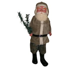 "16"" German Santa Claus Woodcutter Candy Container in Green Suit"