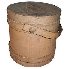 AAFA Primitive Wood Firkin Sugar Bucket in Putty Brown Paint - No Staples