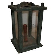 AAFA Wood Barn Lantern in Green Paint and Glass Panels