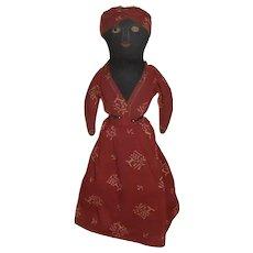 Early AAFA Primitive Folk Art Topsy Turvy Child's Doll Black & White Plantation