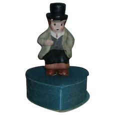 Vintage St. Patrick's Day Composition Man on Green Heart Candy Container