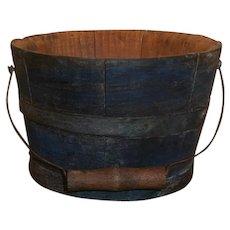 AAFA Primitive Miniature Child's Wood Berry Bucket in Dry Blue Paint