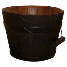 AAFA Primitive Shaker Wood Berry Pail Bucket in Black Paint