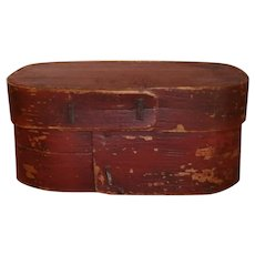 AAFA Wood Oval Pantry Box in Red Paint
