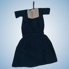 AAFA Antique Indigo Blue and White Homespun Doll Dress