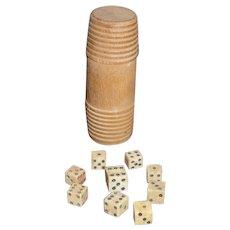 AAFA Primitive Set of 9 Bone Dice in Wood Container