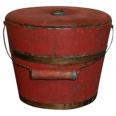 AAFA Primitive Wood Child's Berry Bucket Pail in Red Paint