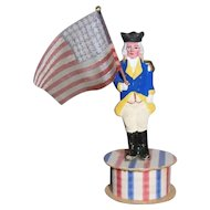 German Composition Patriotic George Washington Candy Container with American Flag