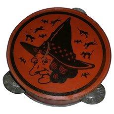 Halloween Tin Witch Tambourine Kirchhof 1930's