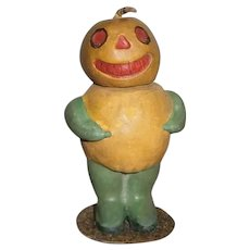 Vintage German Halloween Composition JOL Pumpkin Head Veggie Candy Container