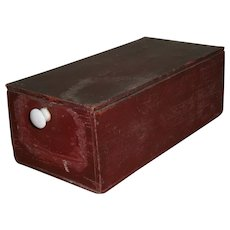 AAFA Primitive Wood Box with Lift Top Lid in Red Paint