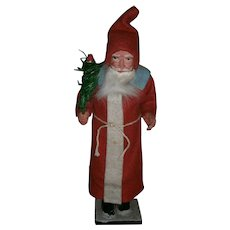 German Christmas Santa Claus Candy Container in Red Long Suit